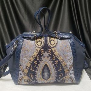 🔥HP🔥 Sharif 1827 Tapestry & Leather Satchel EUC